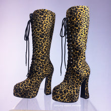 Load image into Gallery viewer, 90's Fuzzy Faux Fur Knee High Leopard Print Lace Up Vintage Platform Boots // Size 6