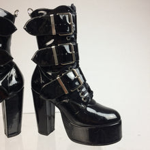 Load image into Gallery viewer, 90's Black Faux Leather Patent Lace Up buckle Strap Shiny Boots // 6