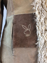 Load image into Gallery viewer, Vintage Embroidered Playboy Patchwork Coat with Faux Fur Trim Size L