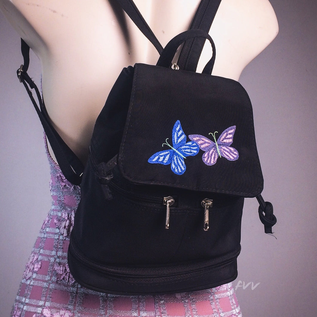 Vintage 90's / Y2K Embroidered Butterfly Mini Backpack