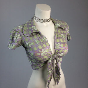 90's Y2k vintage Trashy Lingerie Textured Gingham Floral Short Sleeve Cropped Tie Front Top with Collar