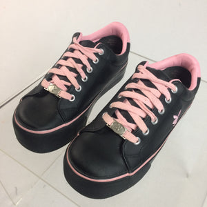 Y2K Playboy Bunny Black and Pink Logo Platform Sneakers