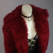 Load image into Gallery viewer, 90's Vintage Maroon Red Plush Faux Fur Coat