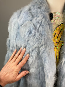 Vintage 90's Baby Blue Fur Coat // S - M