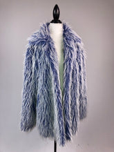 Load image into Gallery viewer, Vintage 90's Shaggy Blue Club Kid Festival Faux Fur Coat