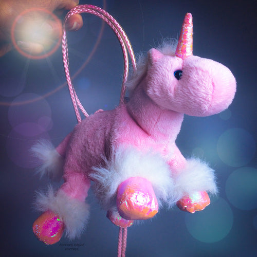90's Vintage Magical Pastel Pink Unicorn Plush Mini Purse