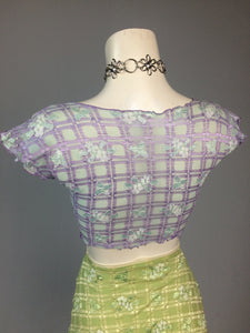 90's Y2k vintage Trashy Lingerie Textured Gingham Floral Short Sleeve Cropped Tie Front Top