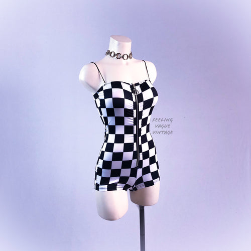 Black and White Zip Front Checker Print Romper - SALE!