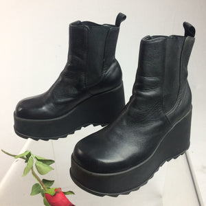 90's Vintage Black Leather Platform Wedge Ankle Grunge Boots