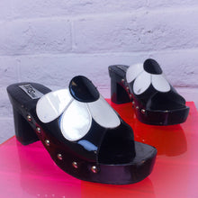 Load image into Gallery viewer, 90's does 60's Retro Black and White Patent Daisy Slide Wood Platform Sandals with Metal Studs size 8