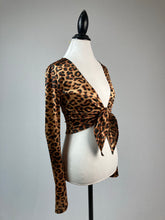 Load image into Gallery viewer, Vintage 90's Satin Bell Sleeve Tie Front Leopard Print Top