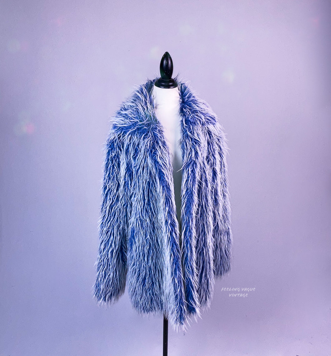Vintage 90's Shaggy Blue Club Kid Festival Faux Fur Coat
