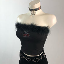 Load image into Gallery viewer, 90's Cherry Doll Feather Trim Tube Top