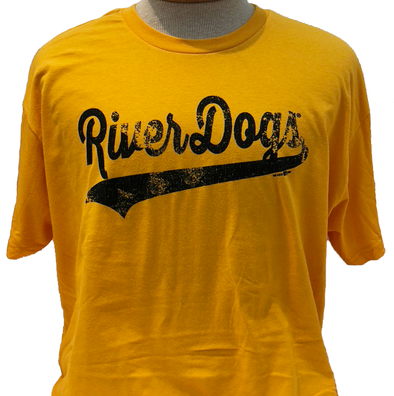 Charleston RiverDogs Retro Gold Wordmark Tee