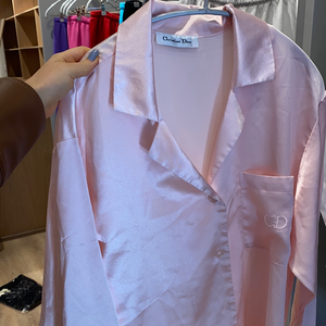 Vintage Dior pink silk button down