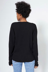 RE/DONE HENLEY THERMAL LONG SLEEVE TEE BLACK