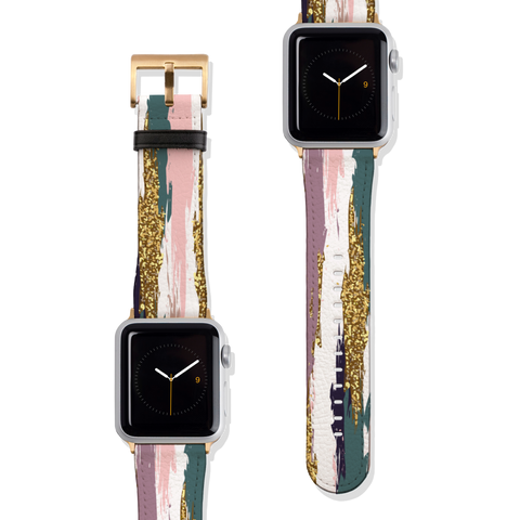 Modern Paint Strokes Vegan Faux Leather Apple Watch Band Series 1 2 3 4 5 38mm 40mm 42mm 44mm | The Urban Flair