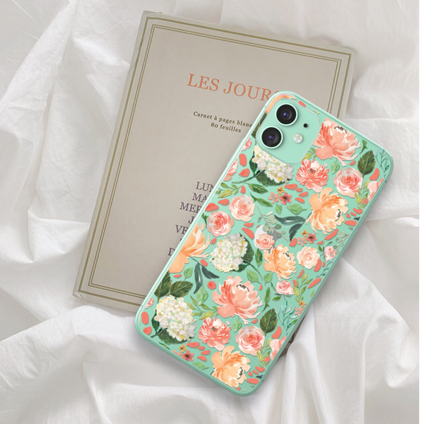 Watercolor Flower Clear Phone Case For Green iPhone 11 at The Urban Flair