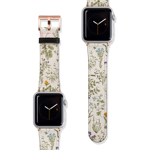 Vintage Wild Flower Botanical Vegan Faux Leather Apple Watch Band Series 1 2 3 4 5 38mm 40mm 42mm 44mm | The Urban Flair