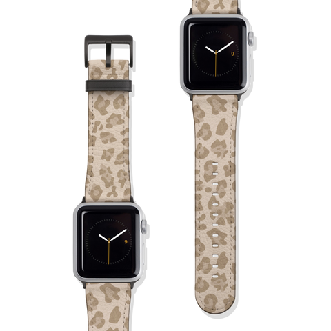 Light Leopard Cheetah Animal Print Vegan Faux Leather Apple Watch Band Series 1 2 3 4 5 38mm 40mm 42mm 44mm | The Urban Flair