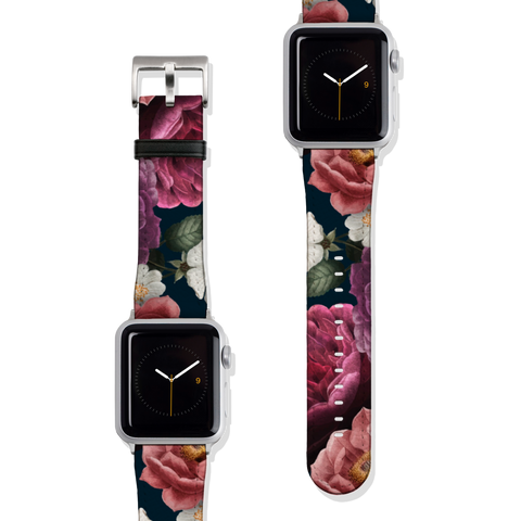 Dark Floral Botanical Vegan Faux Leather Apple Watch Band Series 1 2 3 4 5 38mm 40mm 42mm 44mm | The Urban Flair