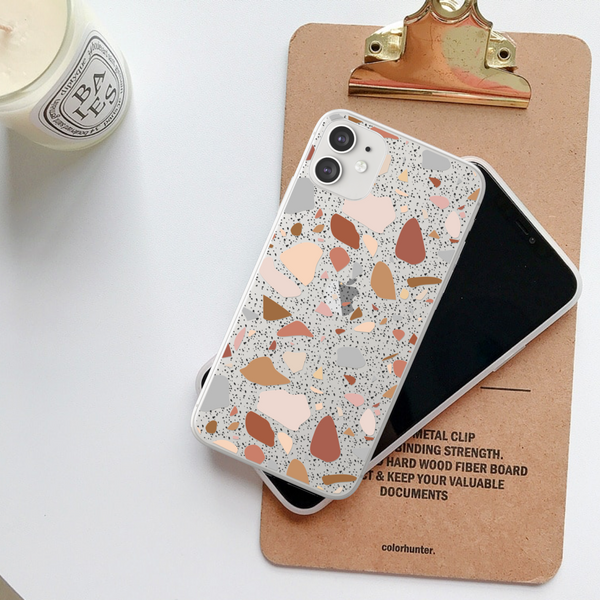 Terrazzo Clear Phone Case For White iPhone 11 at The Urban Flair