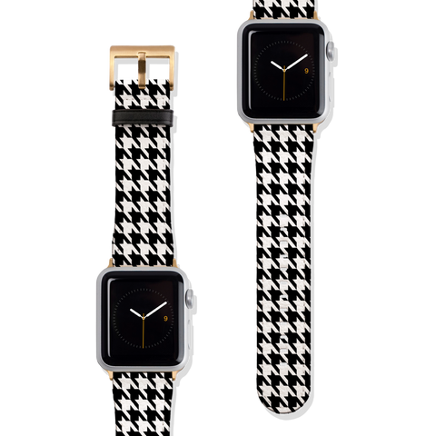 Classic Houndstooth Vegan Faux Leather Apple Watch Band Series 1 2 3 4 5 38mm 40mm 42mm 44mm | The Urban Flair