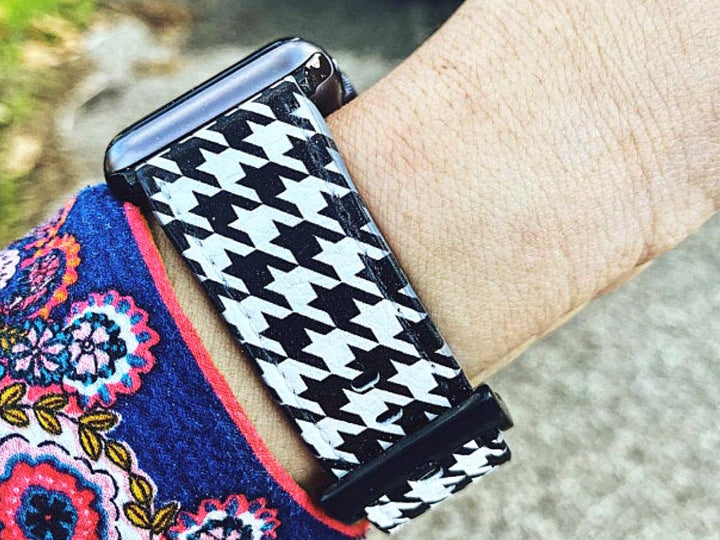 Classic Houndstooth Vegan Leather Apple Watch Band | The Urban Flair