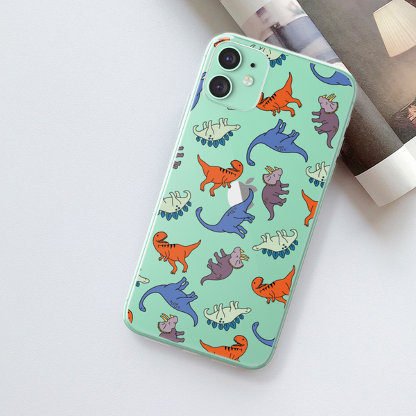 Dinosaur Clear Phone Case For Green iPhone 11 at The Urban Flair