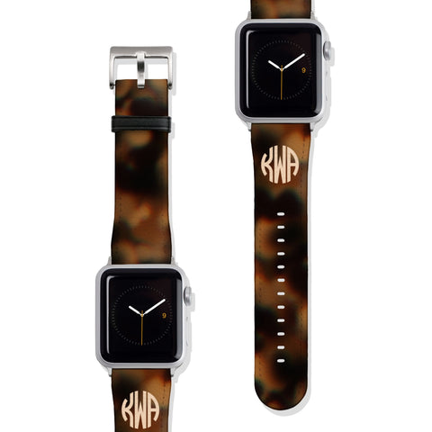Monogram Tortoise Shell Print Vegan Faux Leather Apple Watch Band Series 1 2 3 4 5 38mm 40mm 42mm 44mm | The Urban Flair