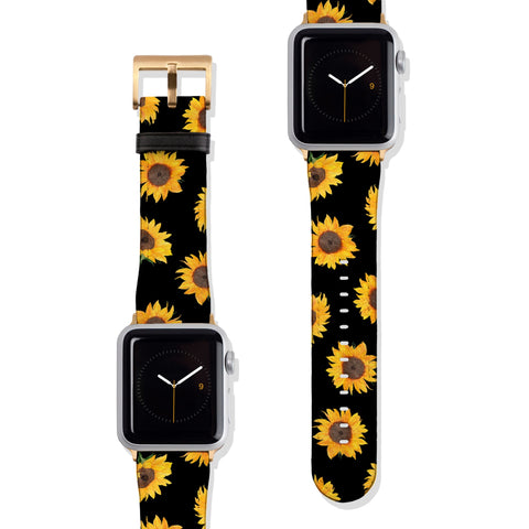 Black Sunflower Vegan Faux Leather Apple Watch Band Series 1 2 3 4 5 38mm 40mm 42mm 44mm | The Urban Flair
