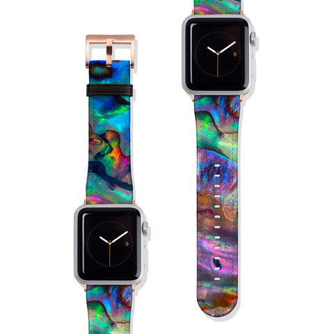 Abalone Mollusk Shell Vegan Faux Leather Apple Watch Band Series 1 2 3 4 5 38mm 40mm 42mm 44mm | The Urban Flair