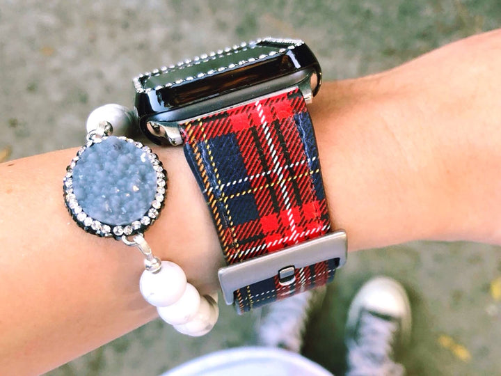 Red Lumberjack Plaid Vegan Leather Apple Watch Band 42mm 44mm | The Urban Flair