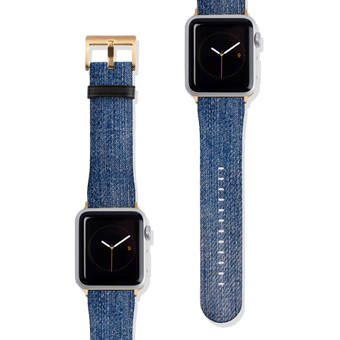 Denim Print Vegan Faux Leather Apple Watch Band Series 1 2 3 4 5 38mm 40mm 42mm 44mm | The Urban Flair