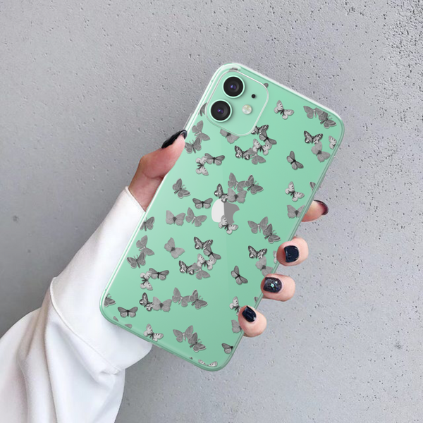 Minimalist Butterfly Clear Phone Case For Green iPhone 11 at The Urban Flair