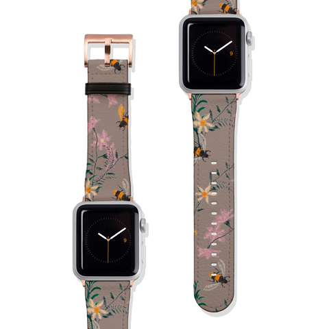 Taupe Vintage Botanical Bees Vegan Faux Leather Apple Watch Band Series 1 2 3 4 5 38mm 40mm 42mm 44mm | The Urban Flair