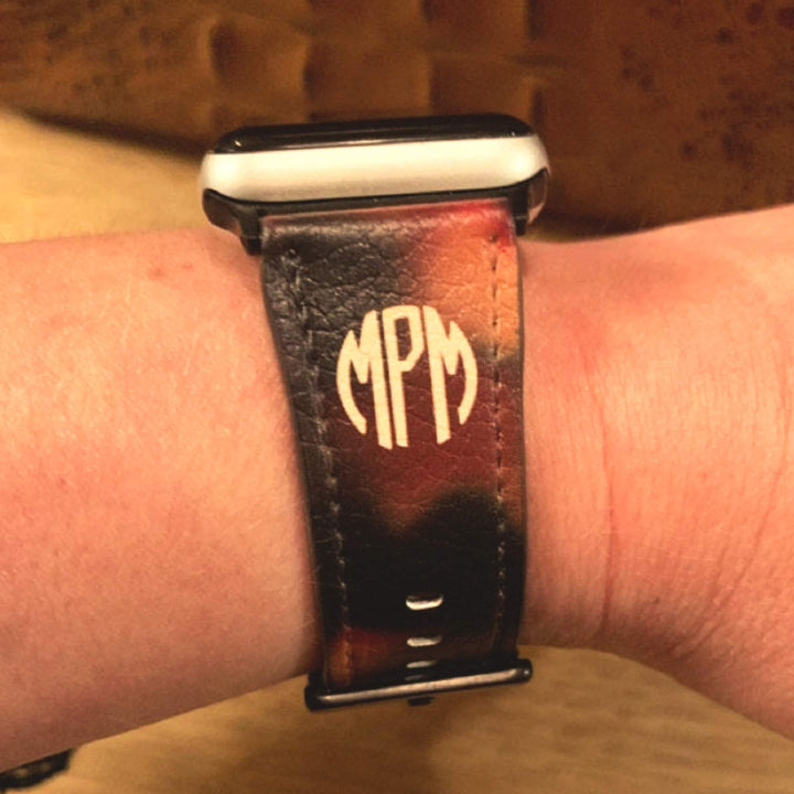 Monogram Tortoise Shell Vegan Leather Apple Watch Band | The Urban Flair