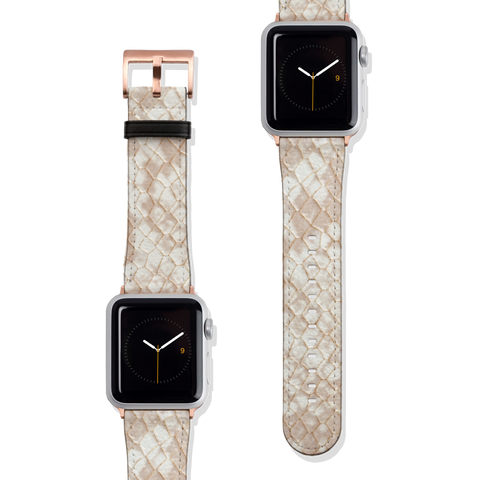 Cream Snakeskin Python Print Vegan Faux Leather Apple Watch Band Series 1 2 3 4 5 38mm 40mm 42mm 44mm | The Urban Flair