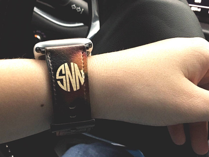 Custom Monogram Tortoise Shell Vegan Leather Apple Watch Band | The Urban Flair