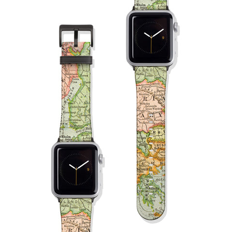 Vintage Travel Map Vegan Faux Leather Apple Watch Band Series 1 2 3 4 5 38mm 40mm 42mm 44mm | The Urban Flair