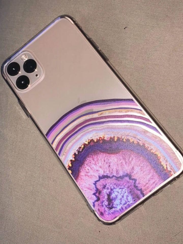 Purple Agate Geode Slice Clear iPhone 11 Pro Max Phone Case | The Urban Flair