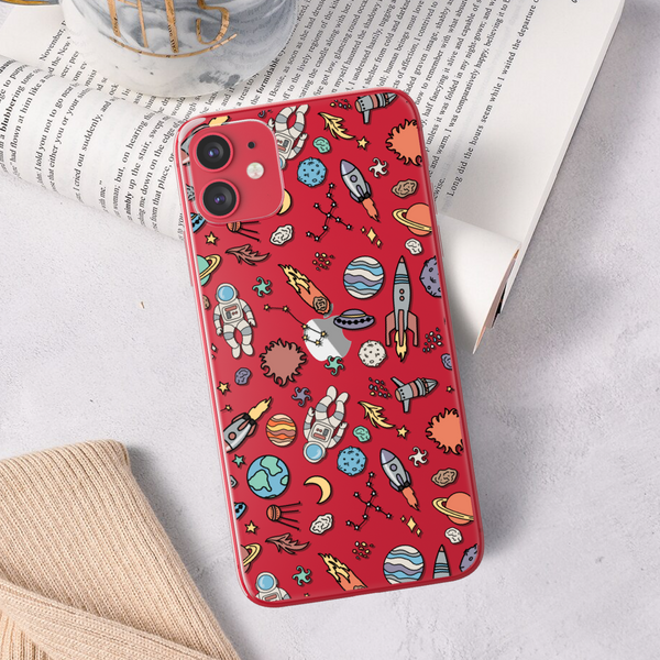 Space Astronaut Doodles Clear Phone Case For Red iPhone 11 From The Urban Flair