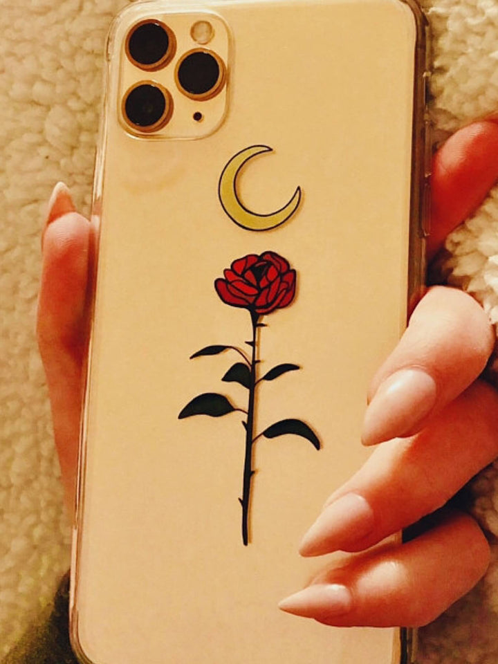Mystic Crescent Moon Rose Clear iPhone 11 Pro Phone Case | The Urban Flair