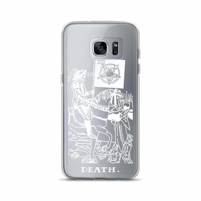 Death Tarot Card Clear Phone Case - Galaxy S7E / White