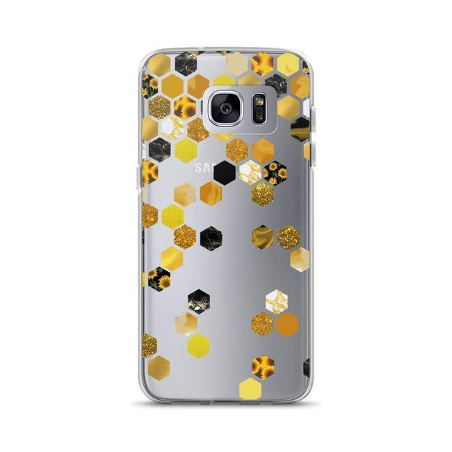 Gold Sunflower Hexagon Clear Phone Case Galaxy S7E