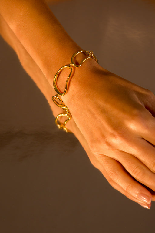 Bracelet 'Link' sterling silver goldplated