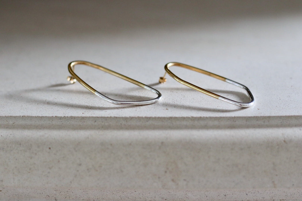 Earrings 'Anette' sterling silver + goldplated