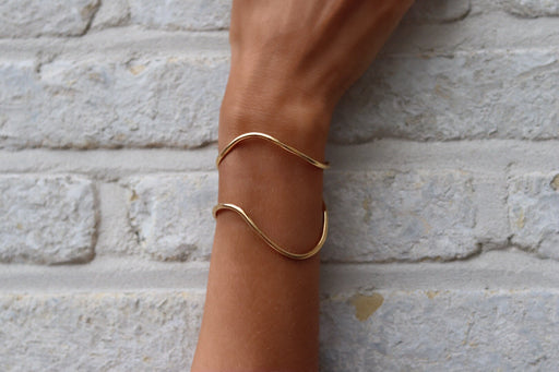 Bracelet 'Wave' sterling silver goldplated