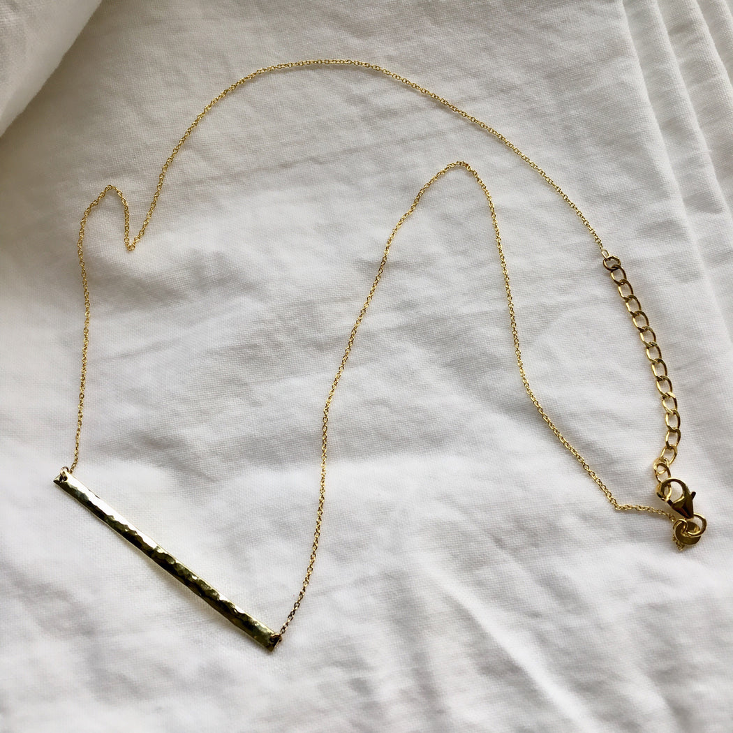Necklace 'long bar' 14 carat gold