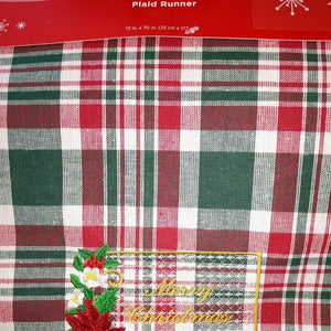 Plaid Table Runner - Merry Christmas
